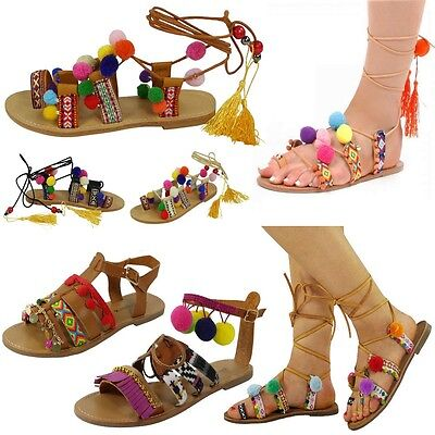 NEW WOMENS LADIES STRAP FLAT LACE UP SHOES POM POM BEACH GLADIATOR SANDALS SiZE