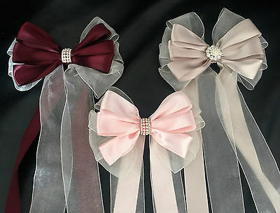 Bouquet Bridal Wedding Satin/Organza Ribbon bow with tails jeweled bling centre