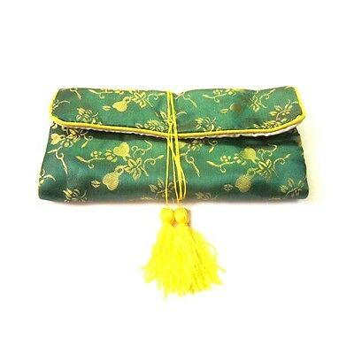Chinese Silk Jewelry Pouches, Green