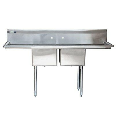"NEW 72"" 2 Compartment Stainless Steel Commercial Sink with Drainboards"