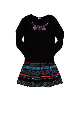 Top & Skirt 8-9 years Black Embellished Top and Floral Print Skirt Set BRAND NEW