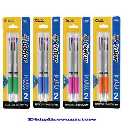 New Bazic - Silver Top 4-Color Pen With Cushion Grip, Assorted, 2 Per Pack