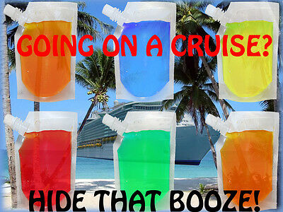 6 Pack Plastic 24 Oz Clear Hidden Flask Set Cruise Rum Sports Concerts Runners