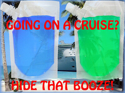 2 Pack Plastic 24 Oz Clear Hidden Flask Set Cruise Rum Sports Concerts Runners