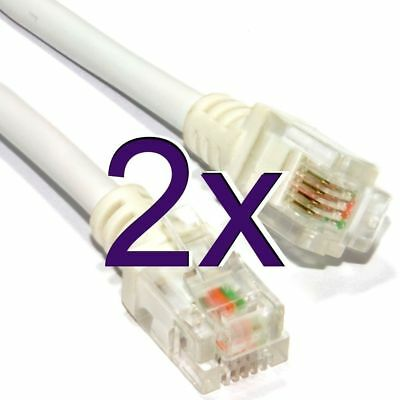 [2 pack] High Speed Broadband ADSL RJ11 to RJ11 Modem Cable 5m [001092]