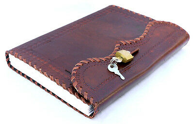 Vintage Handmade Leather Journal Real Lock And Key Sketchbook Diary Notebook 9x7