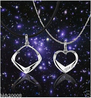 White Gold Plated Sweet Couple Matching Silver Pendant Necklace Set- With You