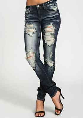 Machine Cutout Distressed Destroyed Stretch Ripped Skinny Denim Jeans Pants Blue