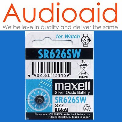 2Pc  Maxell Sr626Sw (377) Watch Battery - Made In Japan