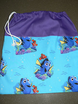 Handmade library bag first name embroidered free FINDING DORY prints