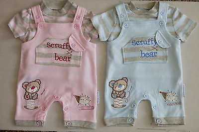 Lovely Baby Boys Girls Dungarees 2pc set Outfit Top Scruffy Bear NB 0-3-6M Gift