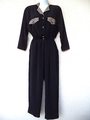 Vintage 80s Minimalist JUMPSUIT Wide Leg Draped Animal Leopard Print Black M L