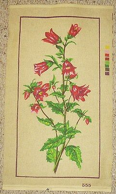 TAPESTRY CANVAS FLOWERS  NO WOOLS REDS PINKS & GREENS on CREAM