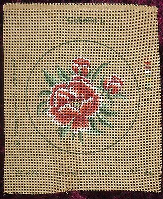 Tapestry Gobelin Canvas Flowers  No Wools Reds White & Greens