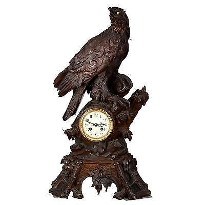 antique carved wood eagle table clock swiss 1900
