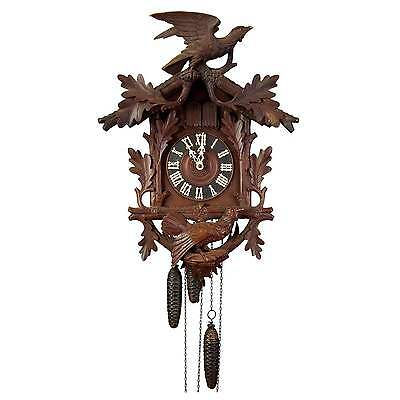 black forest carved wood cuckoo clock with birds