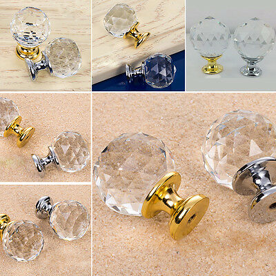 Hot 10P Clear Diamond Crystal Glass Door Knobs Drawer Cabinet Furniture 20-40mm