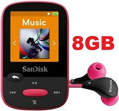 SanDisk Sansa Clip Sport PINK 8GB Digital Media Player MP3 LCD FM Radio Micro SD