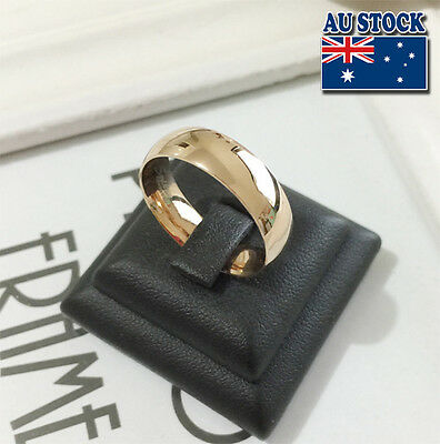 14K Rose Gold Plated 6mm Polished Stainless Steel Wedding Band Ring Mens &Womens