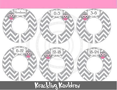 PRE-ASSEMBLED Custom Closet Dividers  pink / grey owls with Grey Chevron Stripes