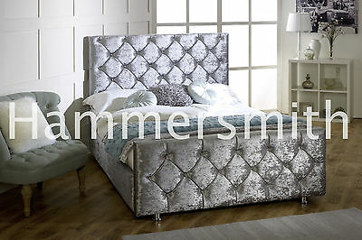 Double Crushed Velvet Fabric Chesterfield Sleigh bed frame Grey,Mink Colour