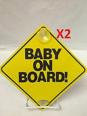 2X Large 6 x 6 *BABY ON BOARD!* Old School Yellow Car Sign with Suction Cups