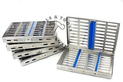 5 Pcs Set Sterilization Cassette Rack Tray Hold 10 Dental Instruments Autoclave
