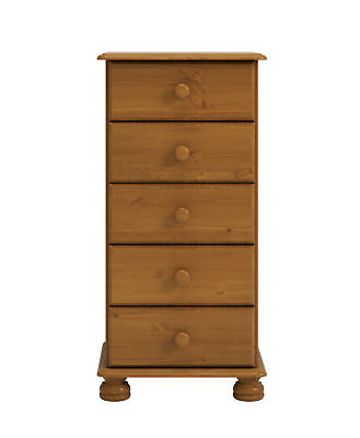 5 Drawer Solid Pine Tallboy Narrow Chest Of Drawers