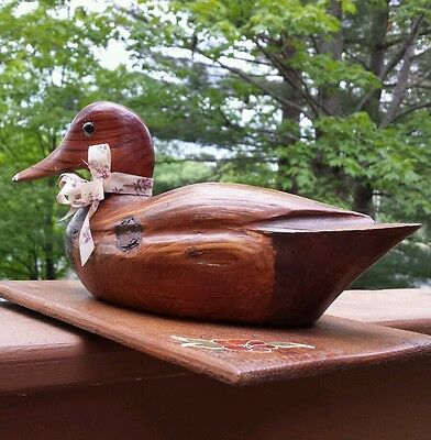 Vintage Solid Wood Duck Decoy Hand Carved Natural Distress Painted Box