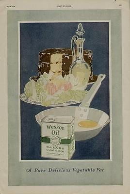 1920 Wesson Oil Ad / Terrific Kitchen Art Scene.....