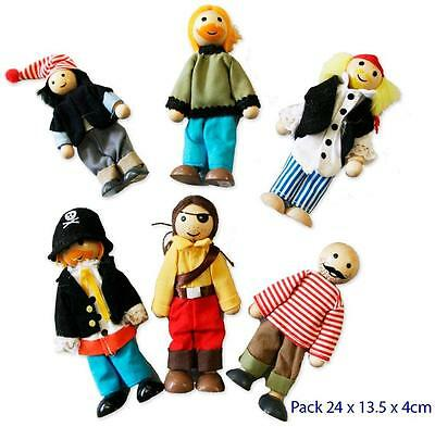 NEW Wooden Doll House Family of 6 - Poseable - PIRATES