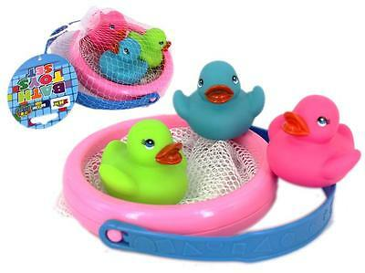 NEW Childrens Bathtime Rubber Ducks & Mesh Fishing Basket - Bath Toys - Set 3