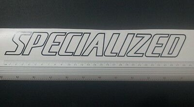 Specialized outline style vinyl cut sticker / decal, 285mm x 38mm, many colours.