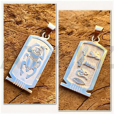 Egyptian Handmade Personalized Sterling Silver Cartouche With Scarab On The Back