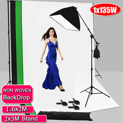 Studio Continuous Softbox Boom Arm Lighting Photo Screen 3 Backdrops Stand Kit