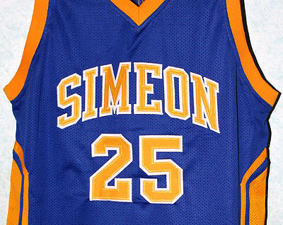 size 40 3f9dc d239e DERRICK ROSE SIMEON High School Jersey Blue New Sewn Any ...
