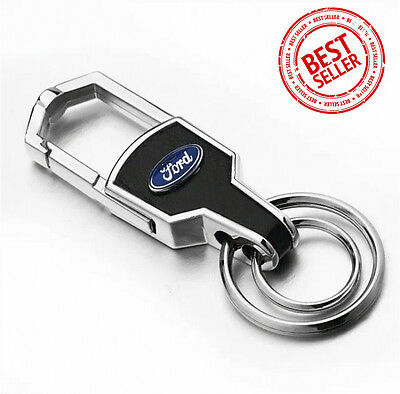 New Ford Auto Car Logo Emblem Key Chain Metal Alloy Leather Gift Decoration