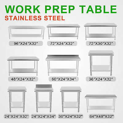 Commercial Stainless Steel Work Bench Food Kitchen Catering Table Shelf