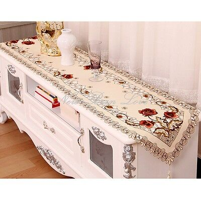 YAZI Embroidery Peony Blossom Dining Decor Table Runner Furniture Cover 40x250cm