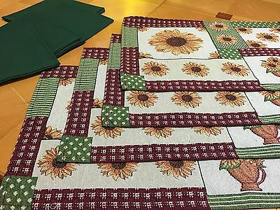 8 Piece Sunflower Print Tapestry Placemat & Napkin Set Country Patchwork Linen