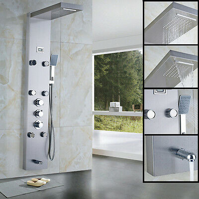 NEW Thermostatic Shower Column Body Massag Jets Mixer Tap Waterfall & Rainfall