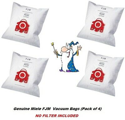 Genuine MIELE FJM HyClean Vacuum Cleaner Hoover DUST BAG x 4 NO FILTER INCLUDED