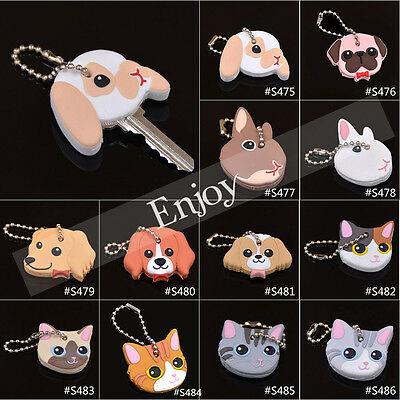 1 Pc Cute Puppy Pug Cat Rabbit Key Cover Cap Keychain Keyring PVC Doggie Gift