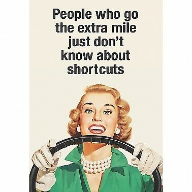 """Retro Humour """"People Who Go The Extra Mile.."""" Blank Greeting Card"""