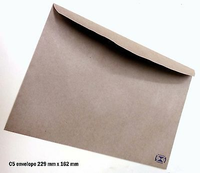 100 Envelopes Kraft Craft Recycled Brown C5