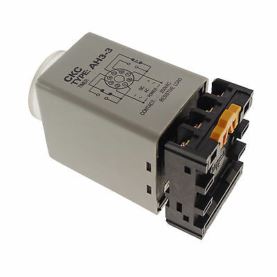 220V Max 60s Power On Delay AH3-3 Timer Relay With Socket Base PF083A
