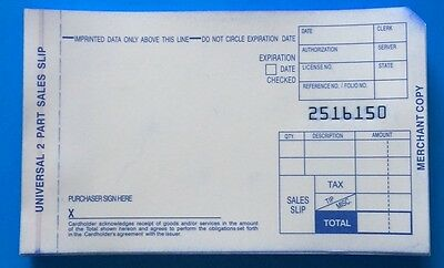 500 Sales Slips for Manual Imprinters- 2 part short