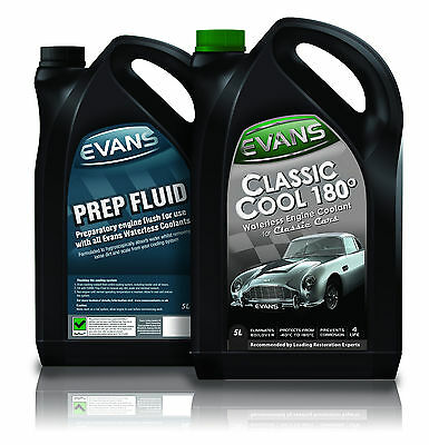 EVANS TWIN PACK; WATERLESS CLASSIC COOLANT 180 and PREP FLUID 5 LITRE BUNDLE KIT