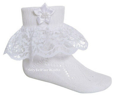 Baby Girls Frilly Socks White Bridesmaid Christening Lace Occasion Socks