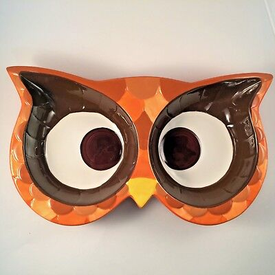 Owl Eyes Ceramic Dip/Serving Dish Two Bowl Areas Mesa Home Products